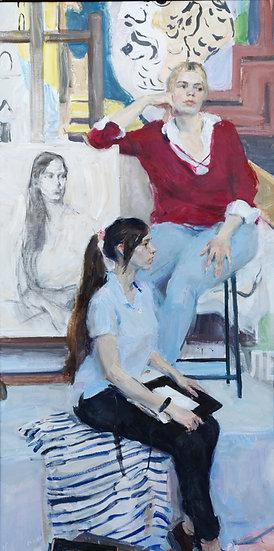 Ode to Picasso. 2 figure female portrait