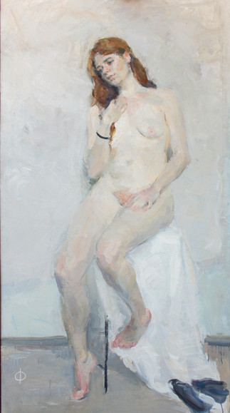 Nude Female Figure against a white Background