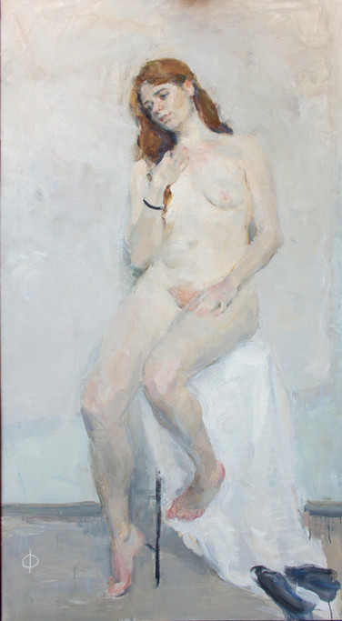 Nude against a white background