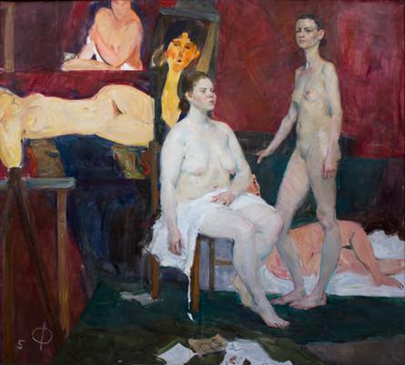Setup with 2 nude female figures. Tribute to Modigliani