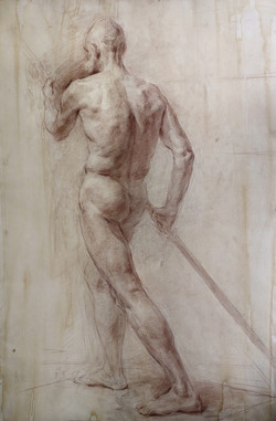 Nude Male Figure in Motion study