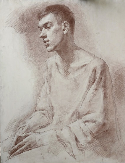 Study of a young male in a robe