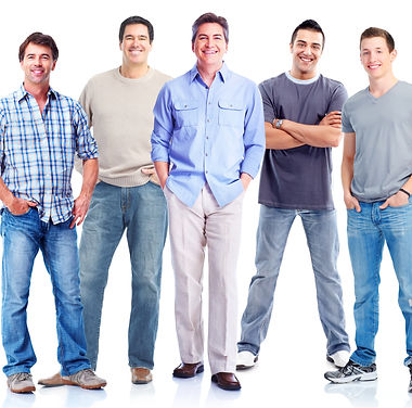 Group of men. Isolated on white backgrou