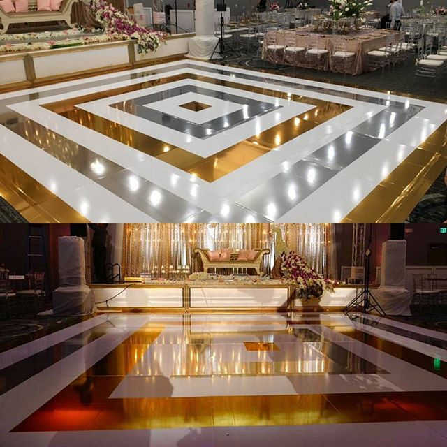 White, gold, and silver chrome mirror dance floor
