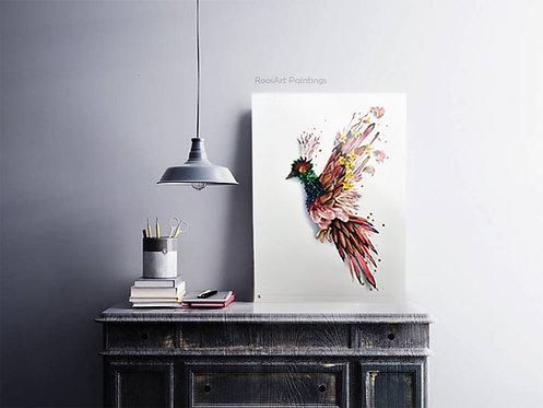 Aluminium print | Flower Bird (50 x 70 cm)