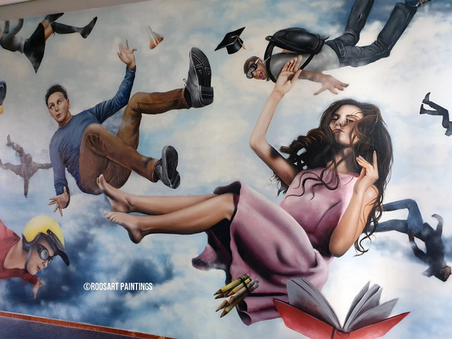 Free Fall mural at High School Marianum