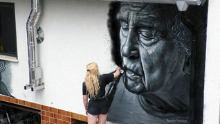 Mural ''Old Times'' in Neuwied, Germany