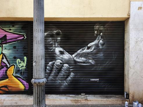 Mural of Kissing Monkeys in Barcelona Spain
