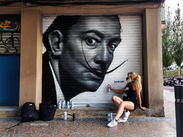 Mural of Salvador Dali in Barcelona, Spain