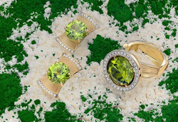 Комплект _ кольцо и серьги. Золото 750, бриллианты, хризолит