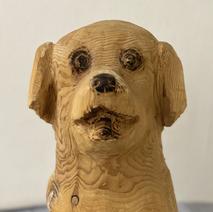 「モモコ」犬(木彫)