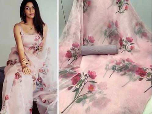 Floral pink Organza saree