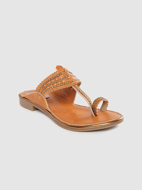 Women Tan Brown & Gold-Toned Braided One Toe Flats