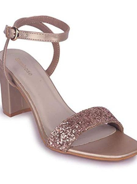 Rose Gold Glittered  Block Heels Sandal