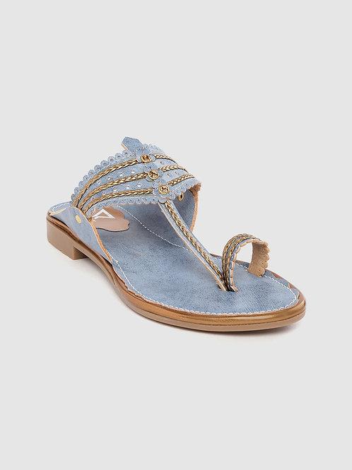 Women Blue Embellished One Toe Flats