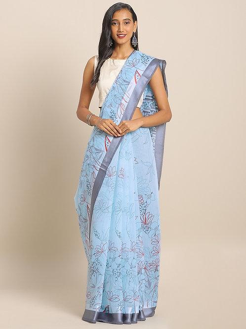 Blue & Grey Linen Blend Printed Saree