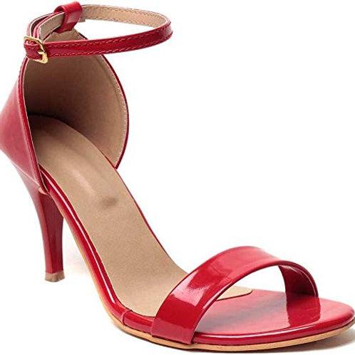 Women Red Strapped Stiletto