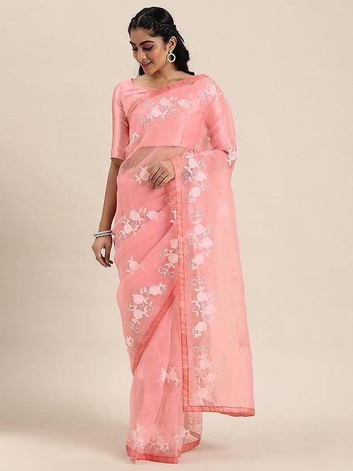 Peach-Coloured Embroidered Organza Saree