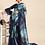Thumbnail: Navy Blue Big Flower Print Organza Celebrity Saree