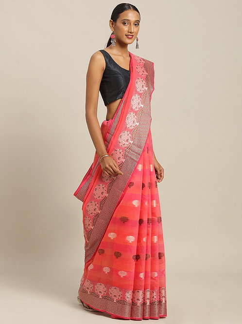 Pink & Brown Pure Cotton Woven Design Handloom Saree