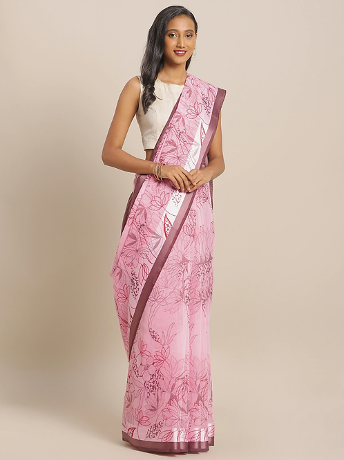 Pink & Maroon Linen Blend Floral Printed Saree