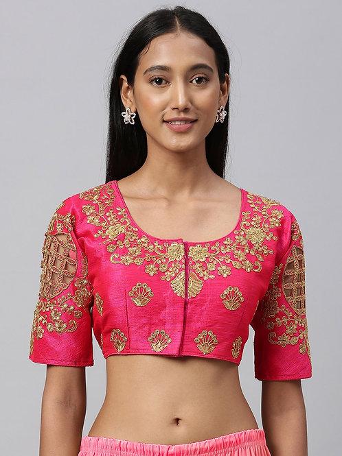 Women Pink & Golden Embroidered Silk Saree Blouse
