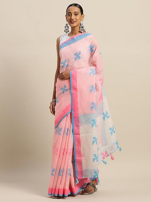 Pink & Blue Linen Blend Woven Design Kota Saree