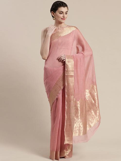 Pink & Golden Solid Maheshwari Saree