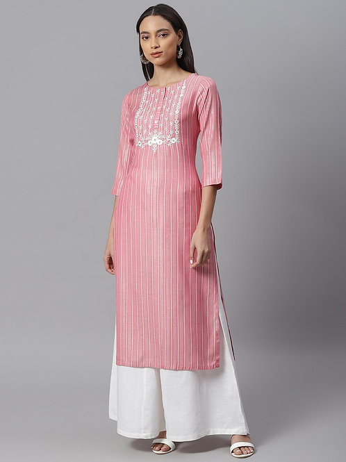 Women Pink Floral Embroidered Straight Kurta with Palazzo