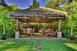 Bali hut and waterfall