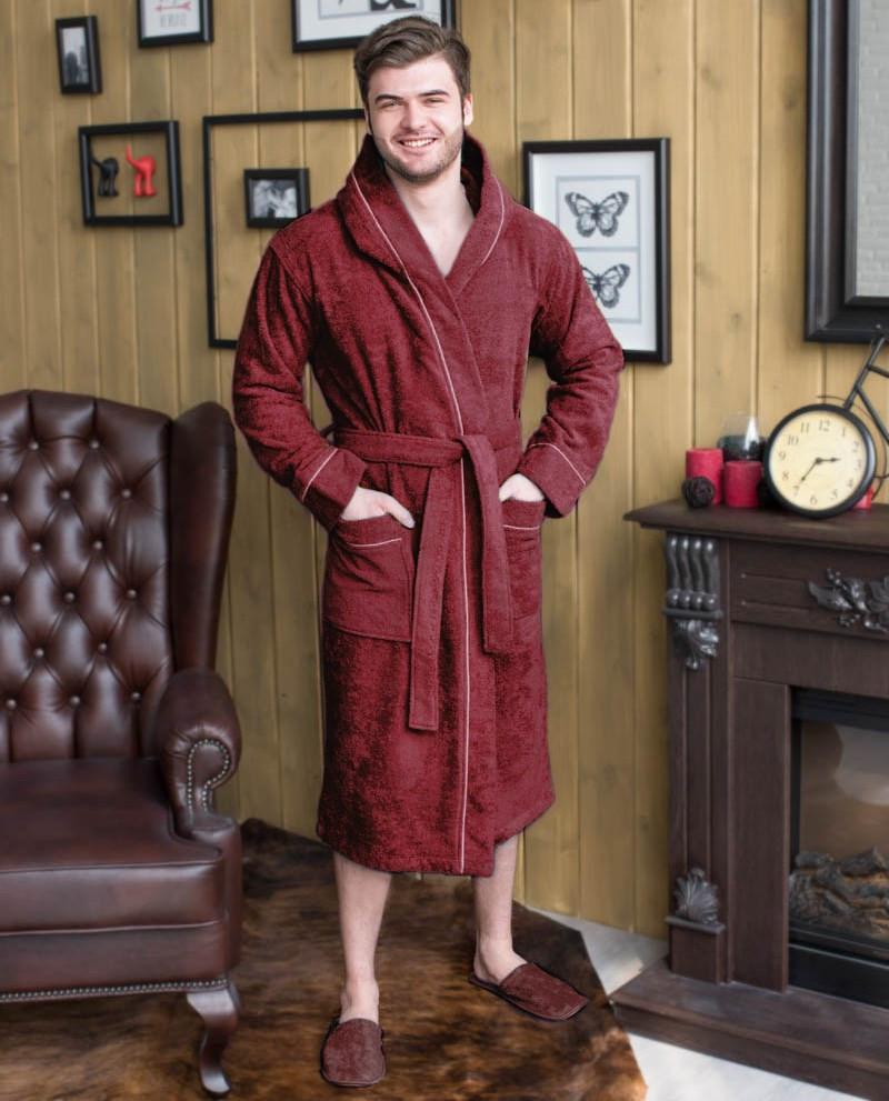 халат мужской капюшон+кант цвет бордо.jp