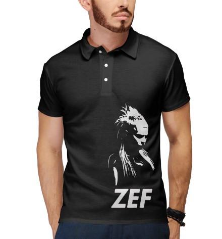 футболка поло с принтом черная