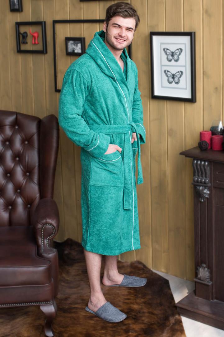 халат махровый капюшон+кант цвет зеленый