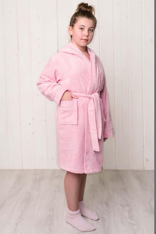 Халат махровый капюшон розовый