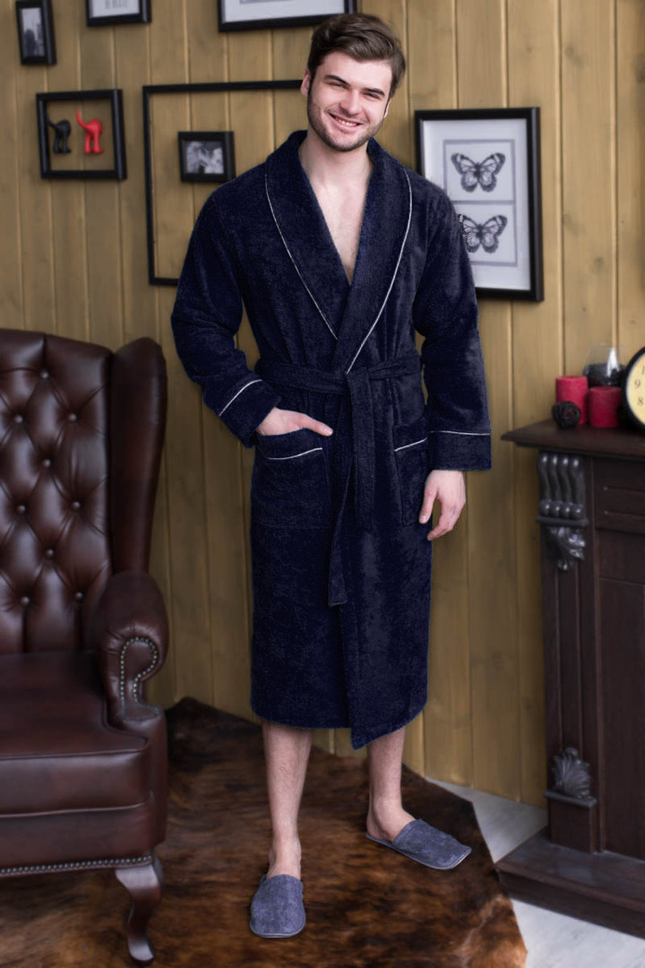 Темно-синий махровый халат