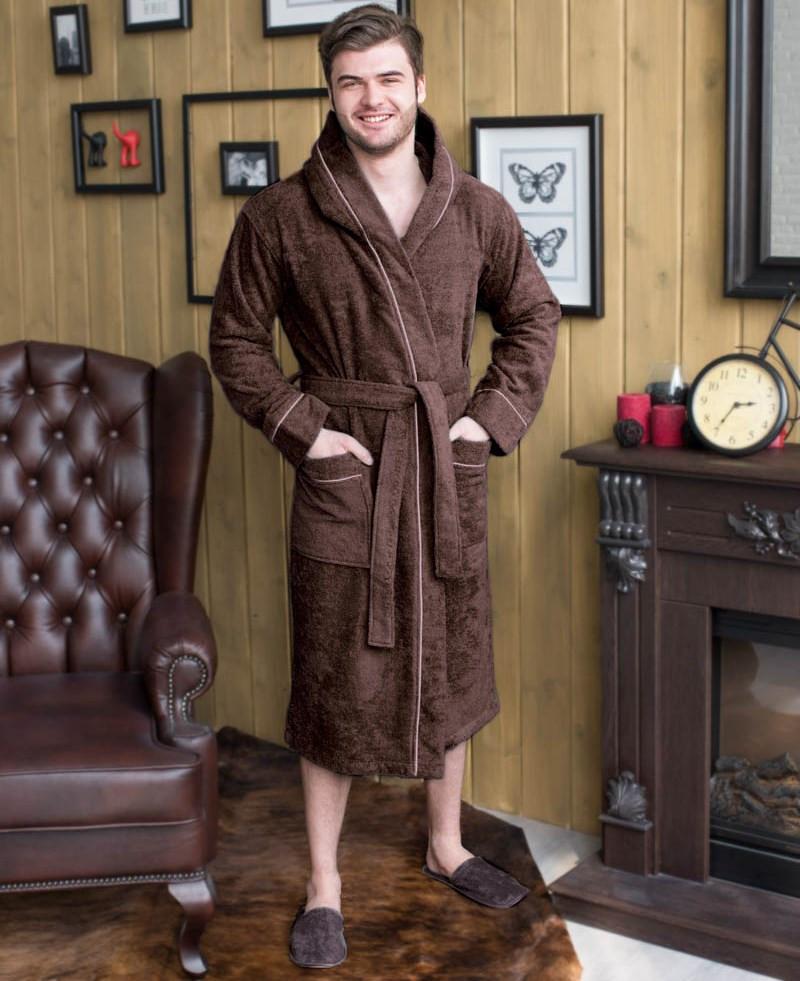 халат мужской капюшон+кант цвет шоколад