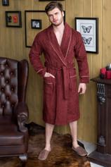 Бордо махровый халат