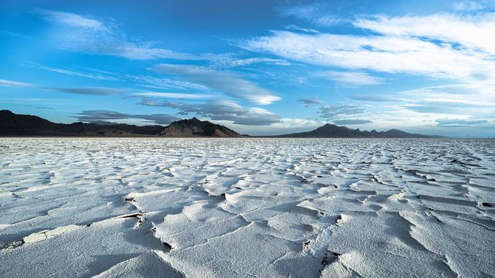 Calm Salt Crusts of Salt Flats, Utah