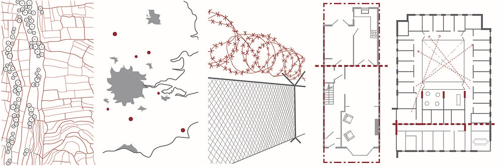 Five thumbnail line drawings of red divisions of space, causing infrastructures of harm and divisions of space and bodies. Pictured are: fields as a monocultured landscape, outsourcing to the periphery, barbed wire fence, property boundary with public and private division, hospital plan with overlooking layout