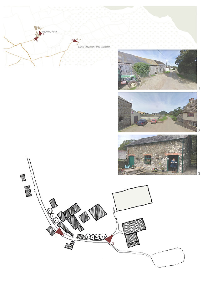 Hand drawn map of farm layout showing concealment from road, secret new sheds