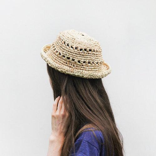 Handmade Natural Raffia Sun Hat - Boater Style