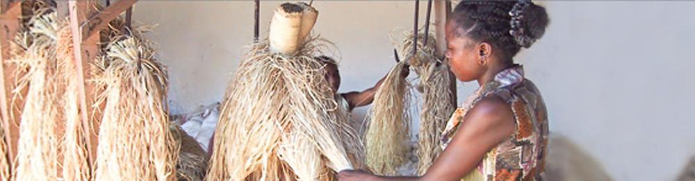 local woman working on raffia drying in Madagascar
