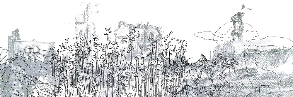 sketch by hand in pencil and black pen line of a ruin taken over by wildness - plants, weeds, witches, animals, werewolves