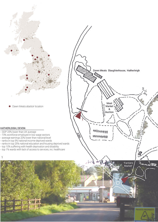 Map of slaughterhouse and demographics of Hatherleigh, Devon. Abattoir presence and deprivation go hand in hand