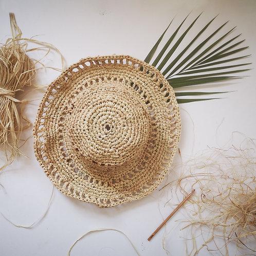 Handmade Natural Raffia Summer Hat - Wide Brim