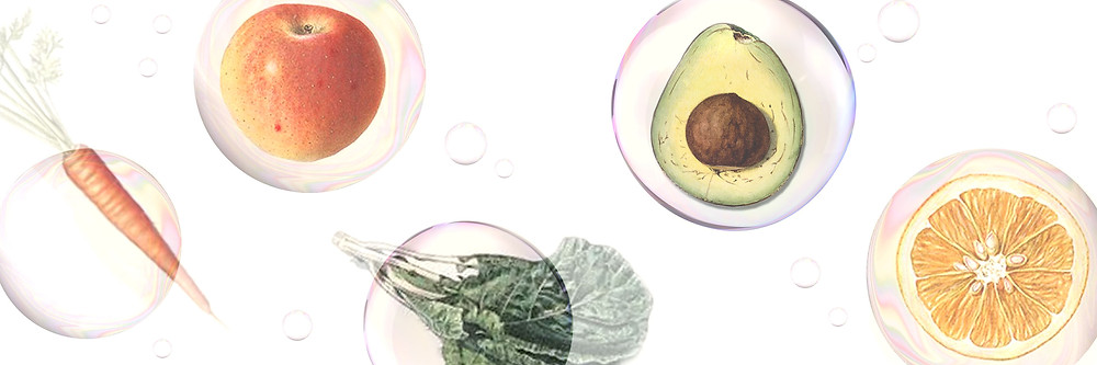 Vintage style collage illustration of healthy foods through the lens of bubbles
