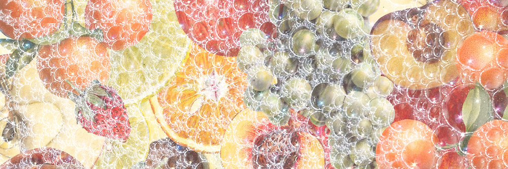 Vintage collage of fruit overlaid with soapy bubbles