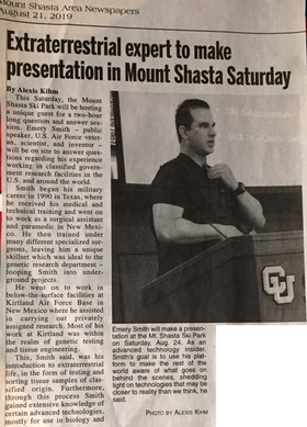 Extraterrastrial expert to make presentation in Mount Shasta