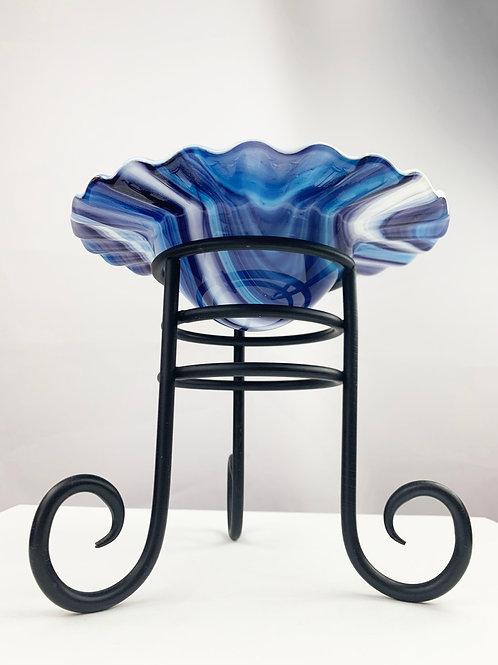 Blue streak shallow bowl vase