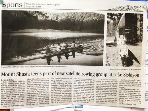 Mount Shasta teens part of new satellite rowing group at Lake Siskiyou
